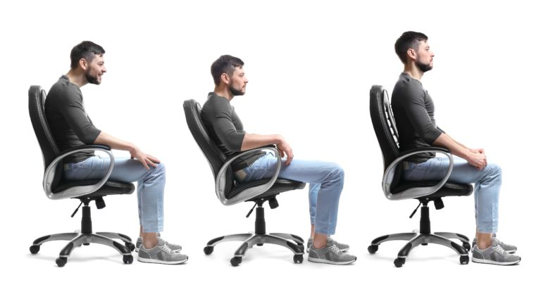 a three part sequence showing a man sitting in a chair with the first two being examples of bad posture and slouching, and the final one being an example of sitting tall with good posture
